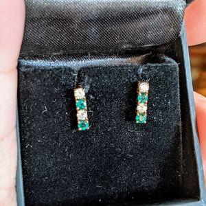 14k natural diamond and emerald bar earrings